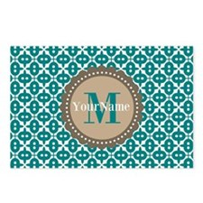 Teal Seamless Pattern Mon Postcards (Package of 8)