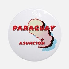 Paraguay Map Ornament (Round)