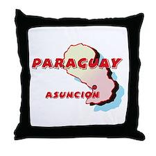 Paraguay Map Throw Pillow