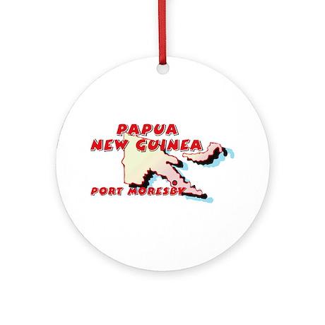 Papua New Guinea Map Ornament (Round)