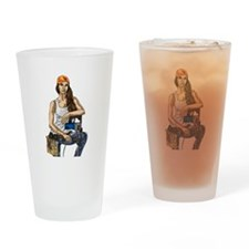 Woman Construction Worker Drinking Glass