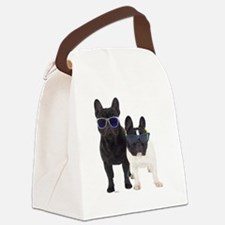 Bulldog Frances con Gafas de sol Canvas Lunch Bag
