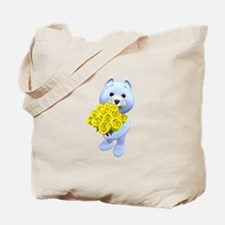Blue bear with yellow roses Tote Bag