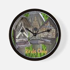 Three Birdhouses Wall Clock