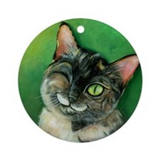 Winking Tortoise Shell Cat Ornament (Round)