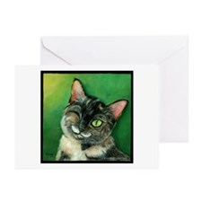 Winking Tortoise Shell Cat Greeting Cards (Package