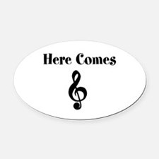 Here Comes Treble Oval Car Magnet