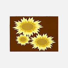 Sunflowers Brown 5'x7'area Rug