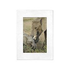 Momma and Baby Elephant 5'x7'Area Rug