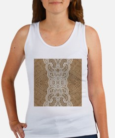 burlap lace western country Tank Top