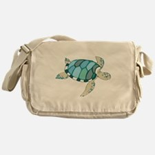 Blue Sea Turtle Messenger Bag