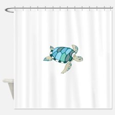 Blue Sea Turtle Shower Curtain
