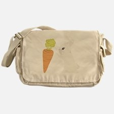 White Bunny With Carrot Messenger Bag