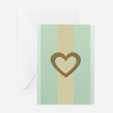 Romantic Retro Pastel Gold Heart Greeting Cards