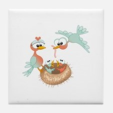 Feeding Birds Nest Tile Coaster