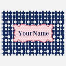 Navy Blue and Pink Polka Dots Monog Invitations