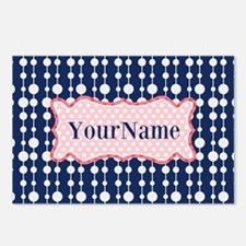 Navy Blue and Pink Polka Postcards (Package of 8)