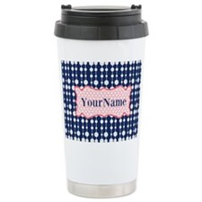 Navy Blue and Pink Polk Travel Mug