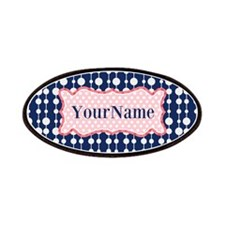 Navy Blue and Pink Polka Dots Monogram Patches