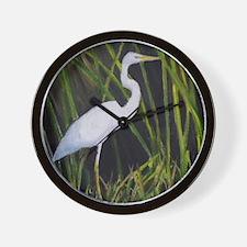 White Egret in Marsh Heron Wading Bird Wall Clock