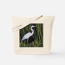 White Egret in Marsh Heron Wading Bird Tote Bag