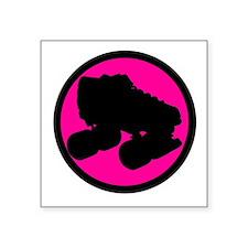 "Pink Circle Skate Square Sticker 3"" x 3"""