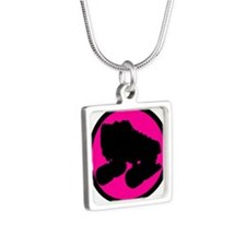 Pink Circle Skate Silver Square Necklace