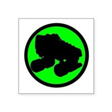 "Circle Skate Green Square Sticker 3"" x 3"""