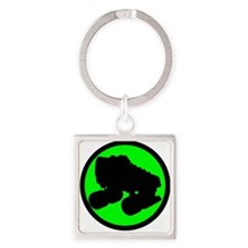 Circle Skate Green Square Keychain