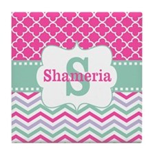 Pink Green Chevron Quatrefoil Personalized Tile Co