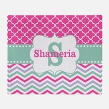 Pink Green Chevron Quatrefoil Personalized Throw B