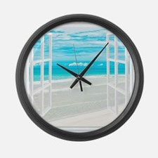 Oceanfront View Large Wall Clock