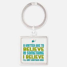 I Believe I'll Knit Square Keychain