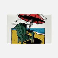 Woodcut Style Print of Beach Umbrella Chair and Oc