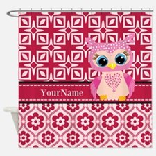 Cute Pink Owl Personalized Shower Curtain