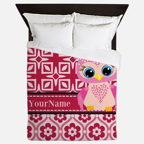 Cute Pink Owl Personalized Queen Duvet