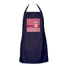 Cute Pink Owl Personalized Apron (dark)
