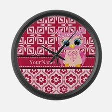 Cute Pink Owl Personalized Large Wall Clock
