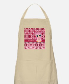 Cute Pink Owl Personalized Apron