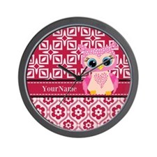 Cute Pink Owl Personalized Wall Clock