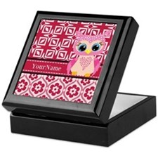 Cute Pink Owl Personalized Keepsake Box