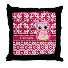 Cute Pink Owl Personalized Throw Pillow