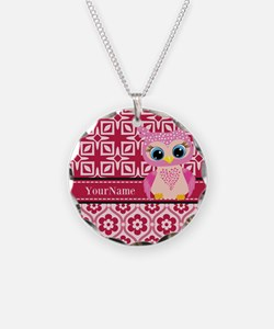 Cute Pink Owl Personalized Necklace