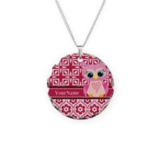 Cute Pink Owl Personalized Necklace Circle Charm