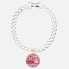 Cute Pink Owl Personaliz Bracelet