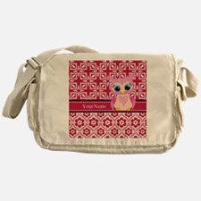 Cute Pink Owl Personalized Messenger Bag