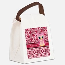 Cute Pink Owl Personalized Canvas Lunch Bag