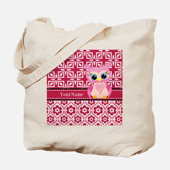 Cute Pink Owl Personalized Tote Bag