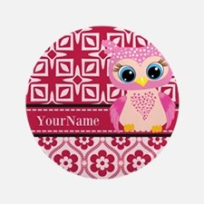 """Cute Pink Owl Personalized 3.5"""" Button (100 pack)"""