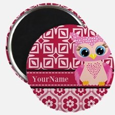 Cute Pink Owl Personalized Magnet